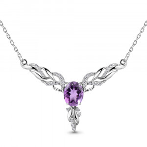 925 Sterling Silver necklaces with cubic zirconia and amethyst