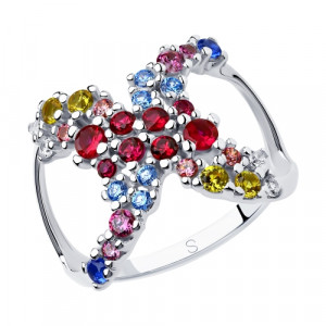 925 Sterling Silver women's rings with corundum and synthetic corundum