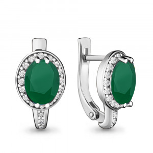 925 Sterling Silver pair earrings with agate and green agate