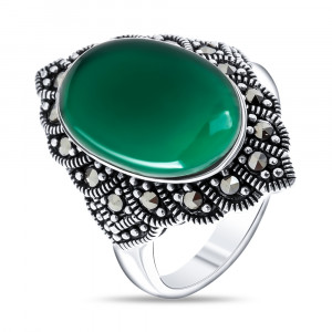 925 Sterling Silver women's rings with  and green agate