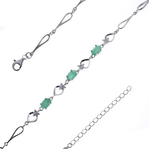 925 Sterling Silver bracelets with emerald and cubic zirconia
