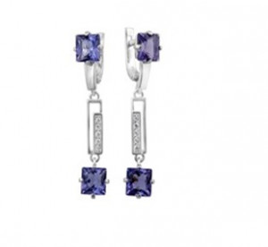 925 Sterling Silver pair earrings with cubic zirconia and quartz pl. topaz