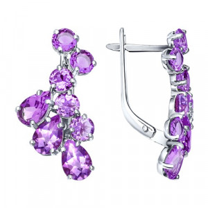 925 Sterling Silver pair earrings with chrysolite and amethyst