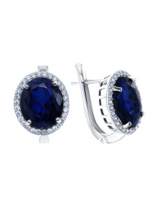 925 Sterling Silver pair earrings with corundum and sapphire