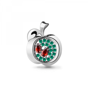 925 Sterling Silver brooches with nano emerald and cubic zirconia