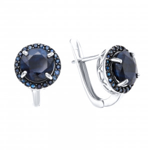 925 Sterling Silver pair earrings with nano sapphire and sapphire