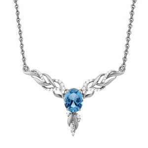 925 Sterling Silver necklaces with nano topaz and