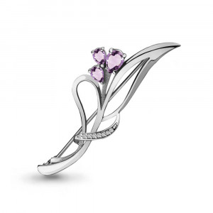 925 Sterling Silver brooches with amethyst