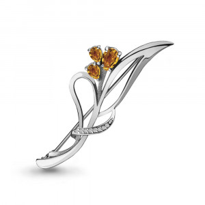 925 Sterling Silver brooches with citrine
