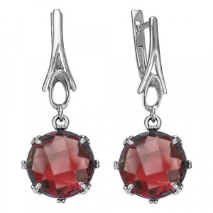 925 Sterling Silver pair earrings with jewelry glass