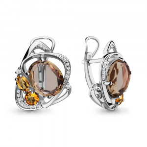 925 Sterling Silver pair earrings with citrine and quartz