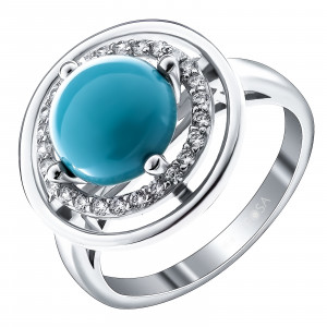 925 Sterling Silver women's ring with synthetic turquoise and cubic zirconia