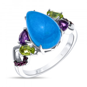 925 Sterling Silver women's rings with chalcedony and rubin
