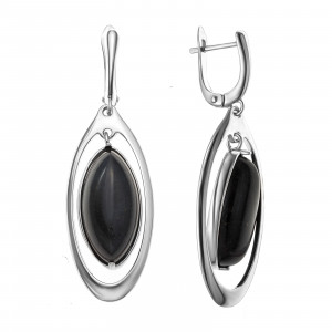 925 Sterling Silver pair earrings with black agate and synthetic onyx