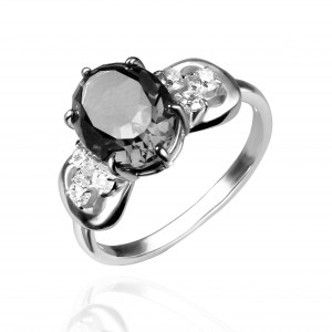 925 Sterling Silver women's rings with turmaline gt and cubic zirconia