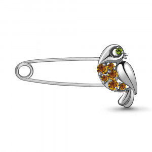 925 Sterling Silver brooches with chrysolite and citrine