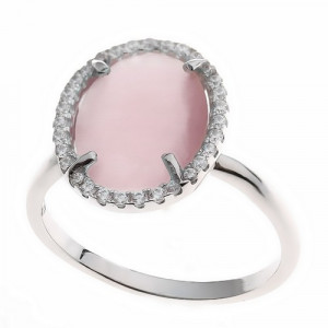 925 Sterling Silver women's ring with cubic zirconia and milky quartz