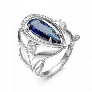 925 Sterling Silver women's rings with quartz pl. sapphire and cubic zirconia