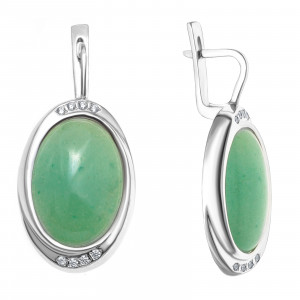 925 Sterling Silver pair earrings with chrysoprase and zoisite