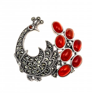 925 Sterling Silver brooches with carnelian and marcasite