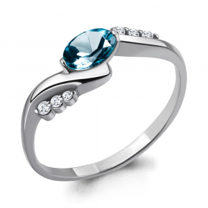 925 Sterling Silver women's rings with london topaz and cubic zirconia swarovski