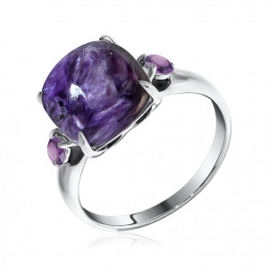 925 Sterling Silver women's rings with charoite
