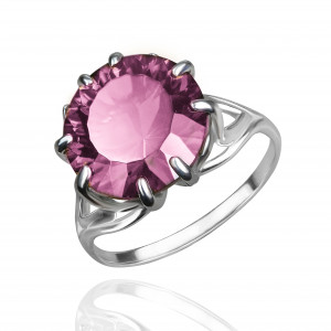 925 Sterling Silver women's rings with quartz pl. ruby