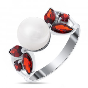 925 Sterling Silver women's rings with garnet and pearl