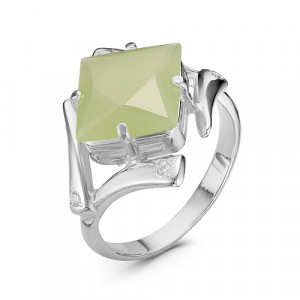 925 Sterling Silver women's rings with jade and cubic zirconia