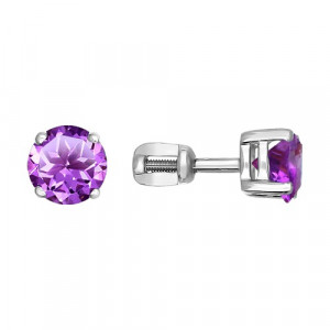 925 Sterling Silver pair earrings with amethyst