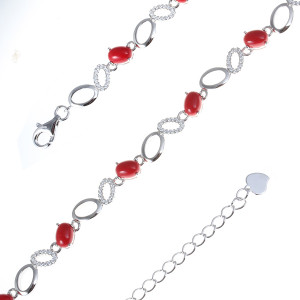 925 Sterling Silver bracelets with synthetic coral