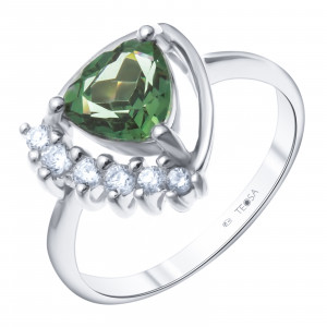 925 Sterling Silver women's rings with tourmaline synthetic