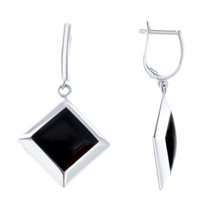 925 Sterling Silver pair earrings with onyx