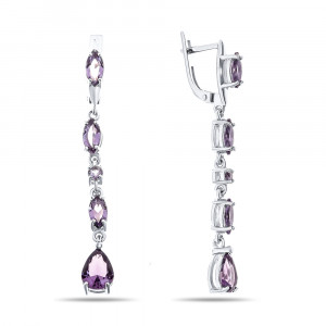 925 Sterling Silver pair earrings with quartz pl. amethyst