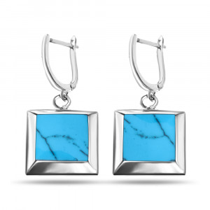 925 Sterling Silver pair earrings with turquoise and mother of pearl