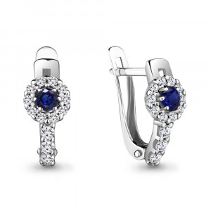 925 Sterling Silver pair earrings with nano sapphire and cubic zirconia