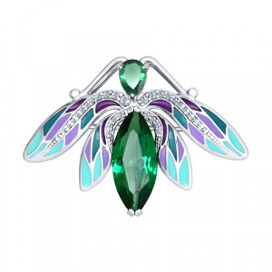 925 Sterling Silver brooches with enamel and turmaline gt