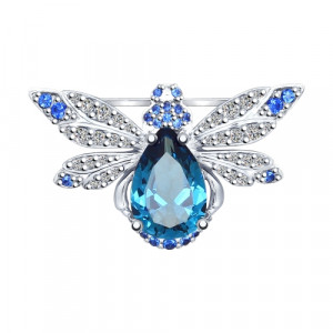 925 Sterling Silver brooches with sitall and topaz london gt