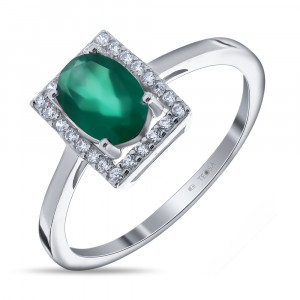 925 Sterling Silver women's ring with green agate and cubic zirconia
