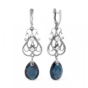 925 Sterling Silver pair earrings with sitall