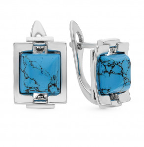 925 Sterling Silver pair earrings with synthetic turquoise and turquoise
