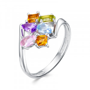 925 Sterling Silver women's rings with amethyst and topaz