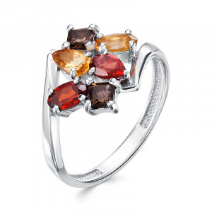 925 Sterling Silver women's rings with garnet and citrine