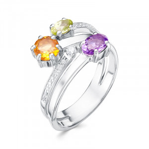 925 Sterling Silver women's rings with chrysolite and amethyst
