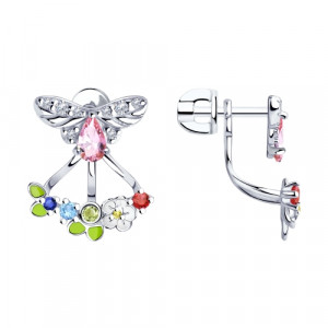 925 Sterling Silver pair earrings with enamel and synthetic corundum
