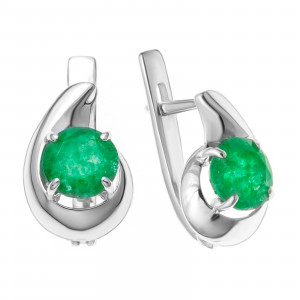 925 Sterling Silver pair earrings with emerald