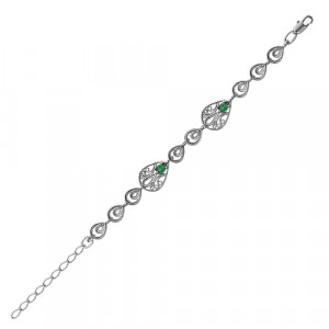 925 Sterling Silver bracelets with synthetic spinel and cubic zirconia