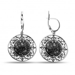 925 Sterling Silver pair earrings with rauchtopaz and amethyst
