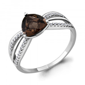 925 Sterling Silver women's rings with rauchtopaz and cubic zirconia