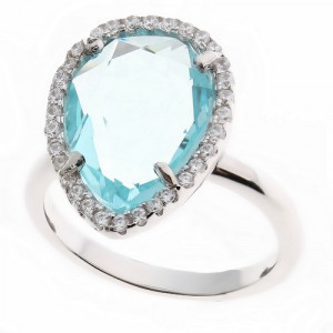925 Sterling Silver women's ring with quartz aquamarine